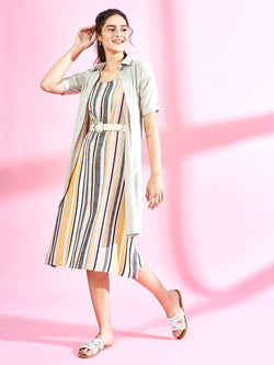 Multi Coloured Shirt Dress Set