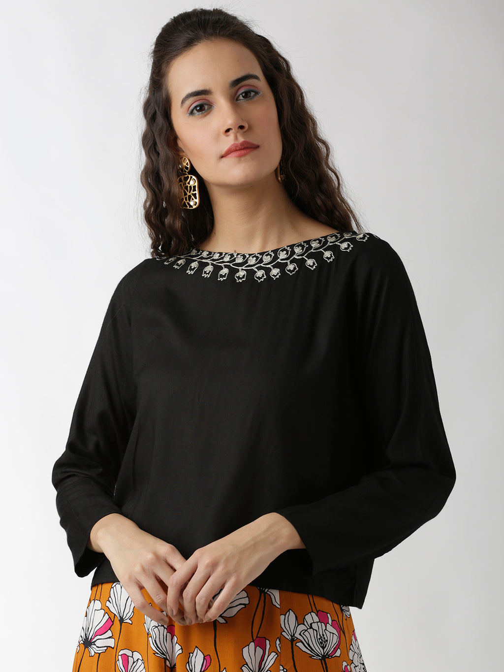 Breya Embroidered Neck Solid Black Crop Top