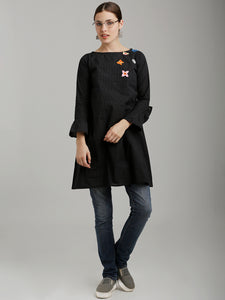 Breya Black Embroidered Flared Statement Sleeves Dress
