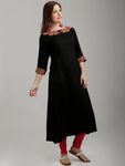 Breya Neck And Cuff Embroidered A-Line Black Kurta