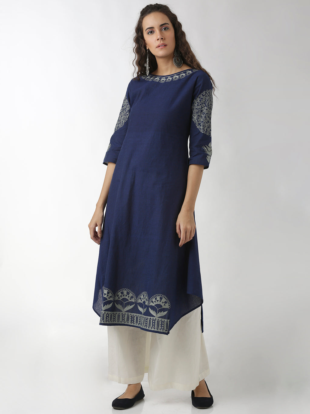 Breya Statement Flared Panel Navy Blue Straight Kurta