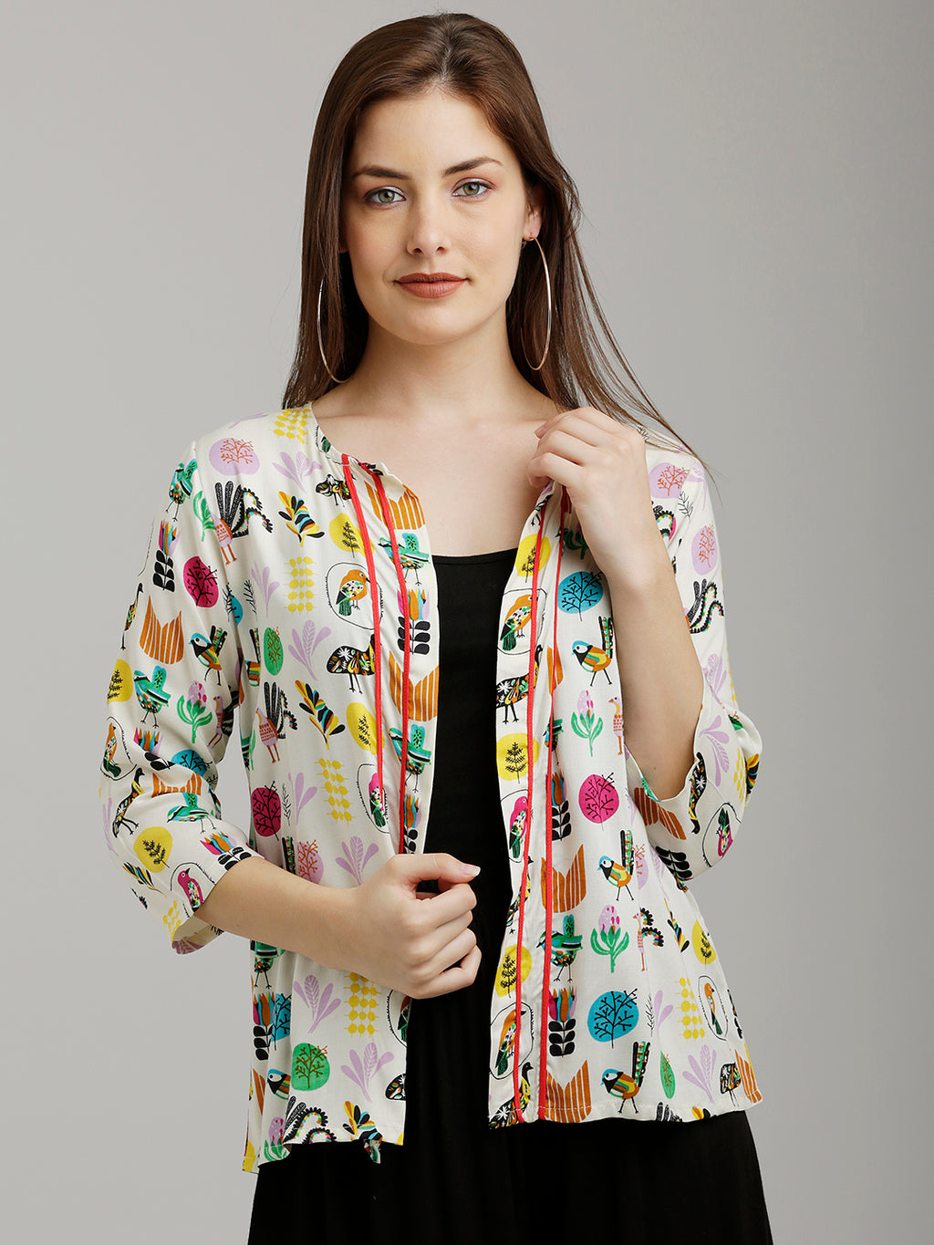 Breya Colourful Bird Printed Jacket