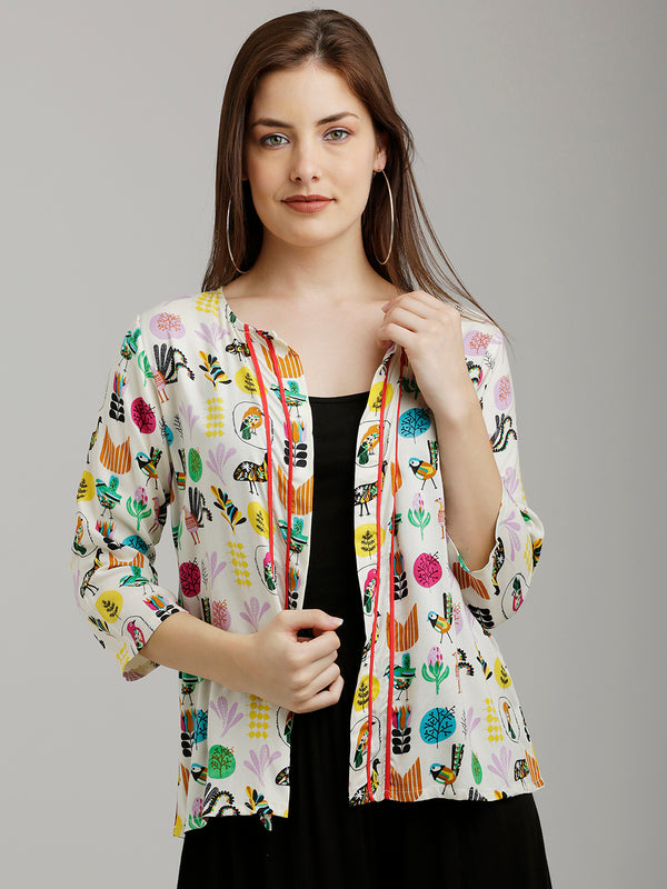 Colourful Bird Printed Jacket
