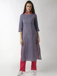 Breya Straight Grey Printed Statement Sleeve Kurta