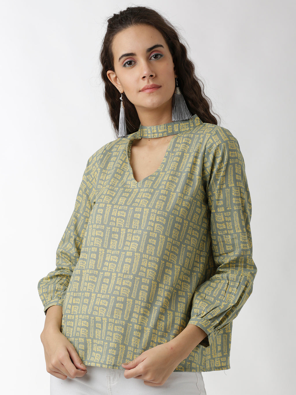 Breya Sap Green And Yellow Printed Statement Neck Top