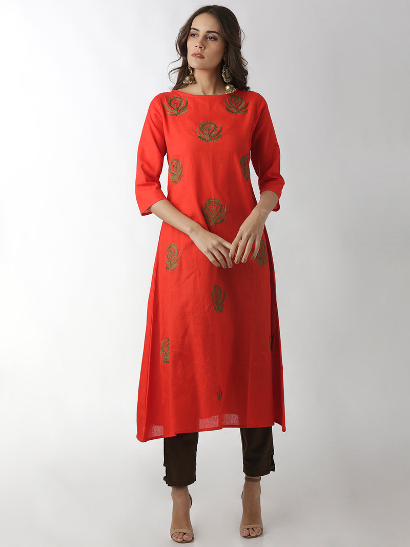 Sea Green Embroidered A-Line Kurta