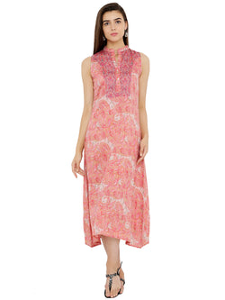 Paisley Print Sleeveless A-Line Dress