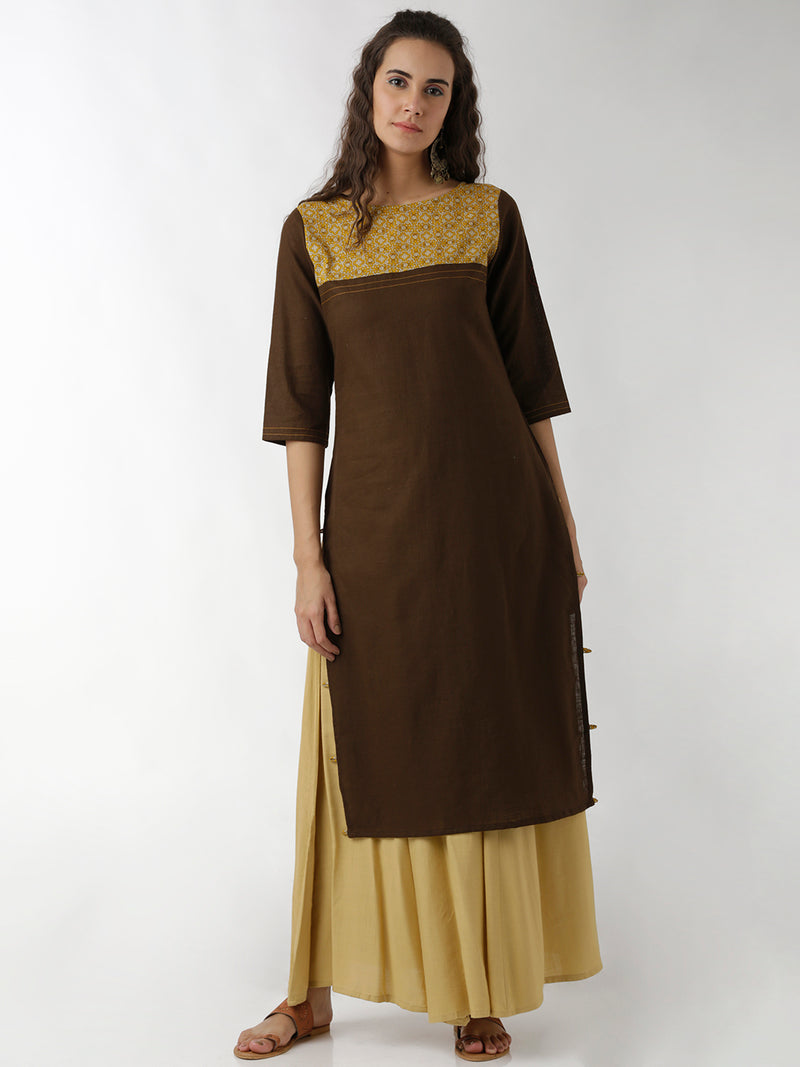 Solid Brown Straight Kurta