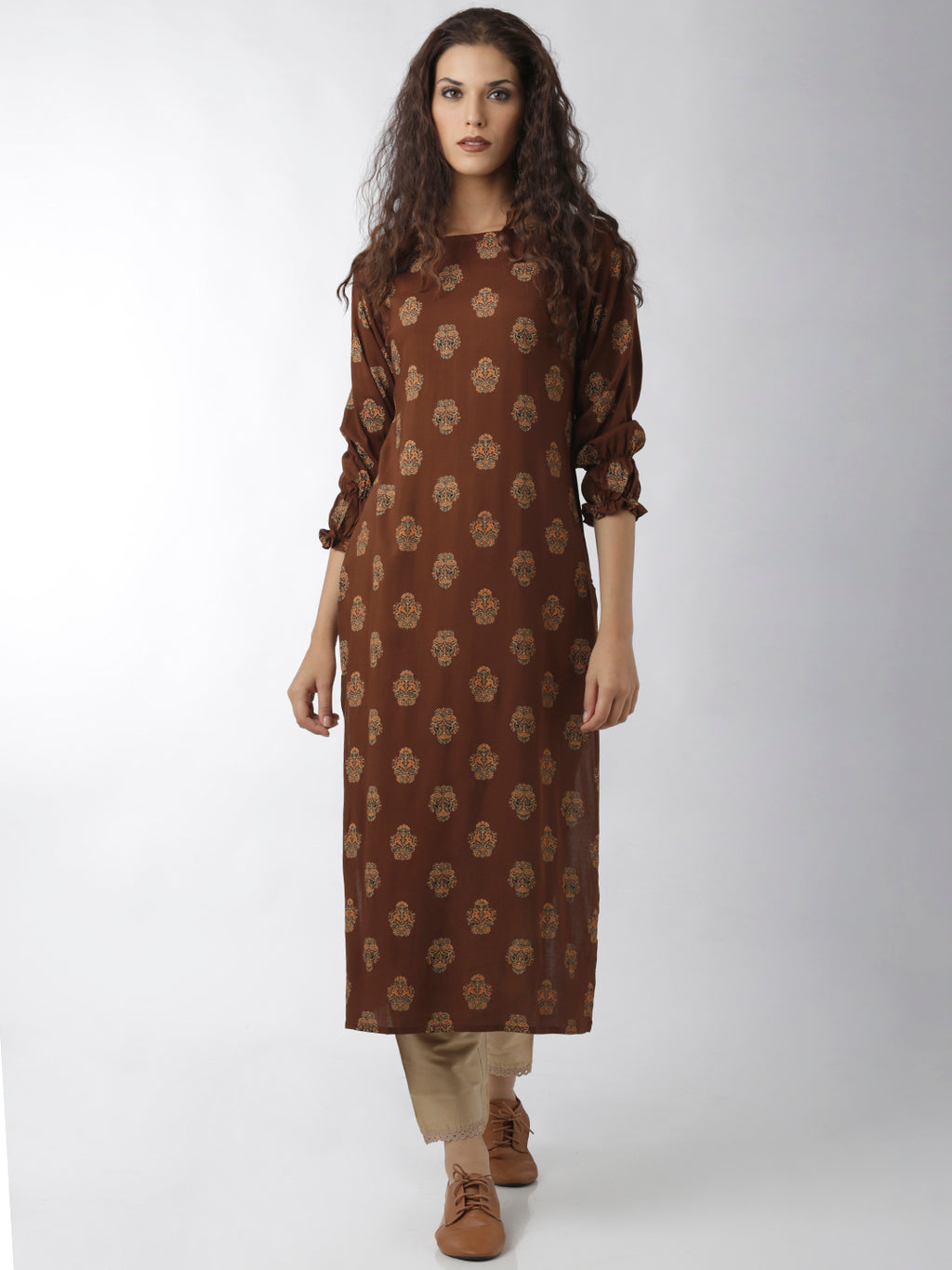 Breya Statement Sleeve Straight Brown Printed Kurta