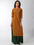 Breya Embroidered Straight Orange Kurta