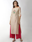 Breya Embroidered Cream & Orange Straight Kurta