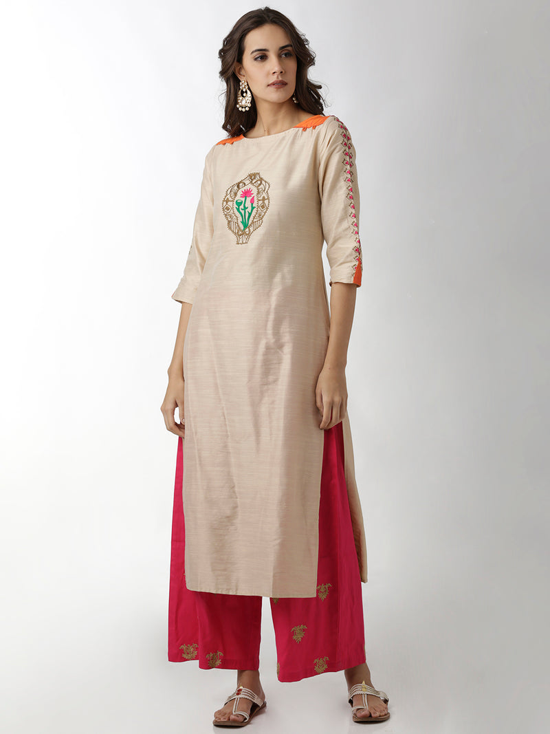 Embroidered Cream & Orange Kurta