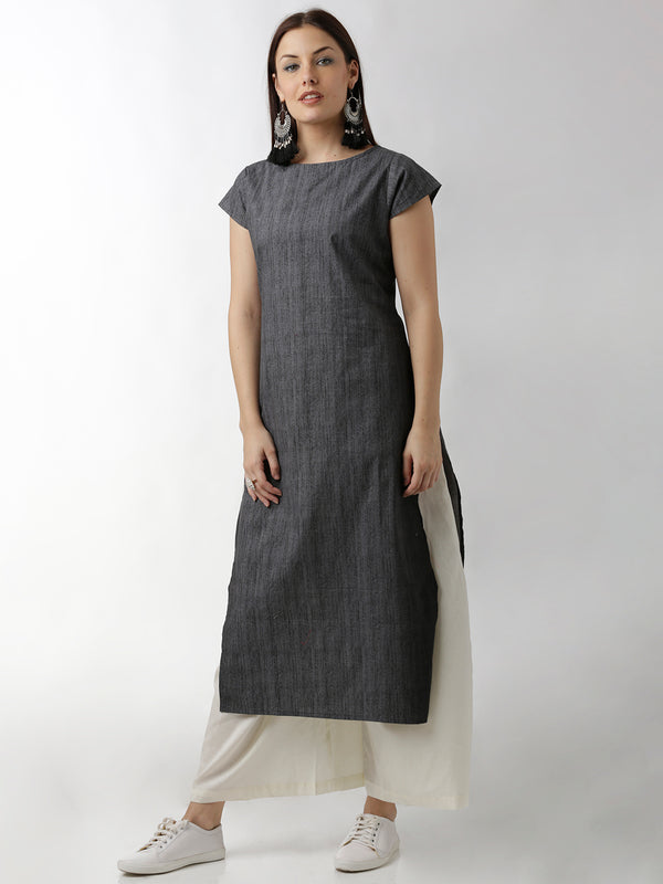 Denim Black Straight Kurta