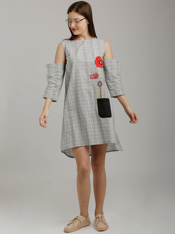 Breya Checkered Monochrome Cold Shouldered Flared Dress