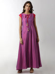 Breya Keyhole Neck A-Line Pink Maxi Dress