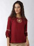 Breya Statement Sleeves Solid Maroon Embroidered Top