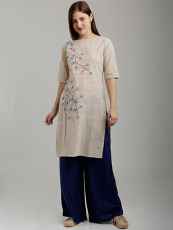 Beige Foliage Embroidered Tunic