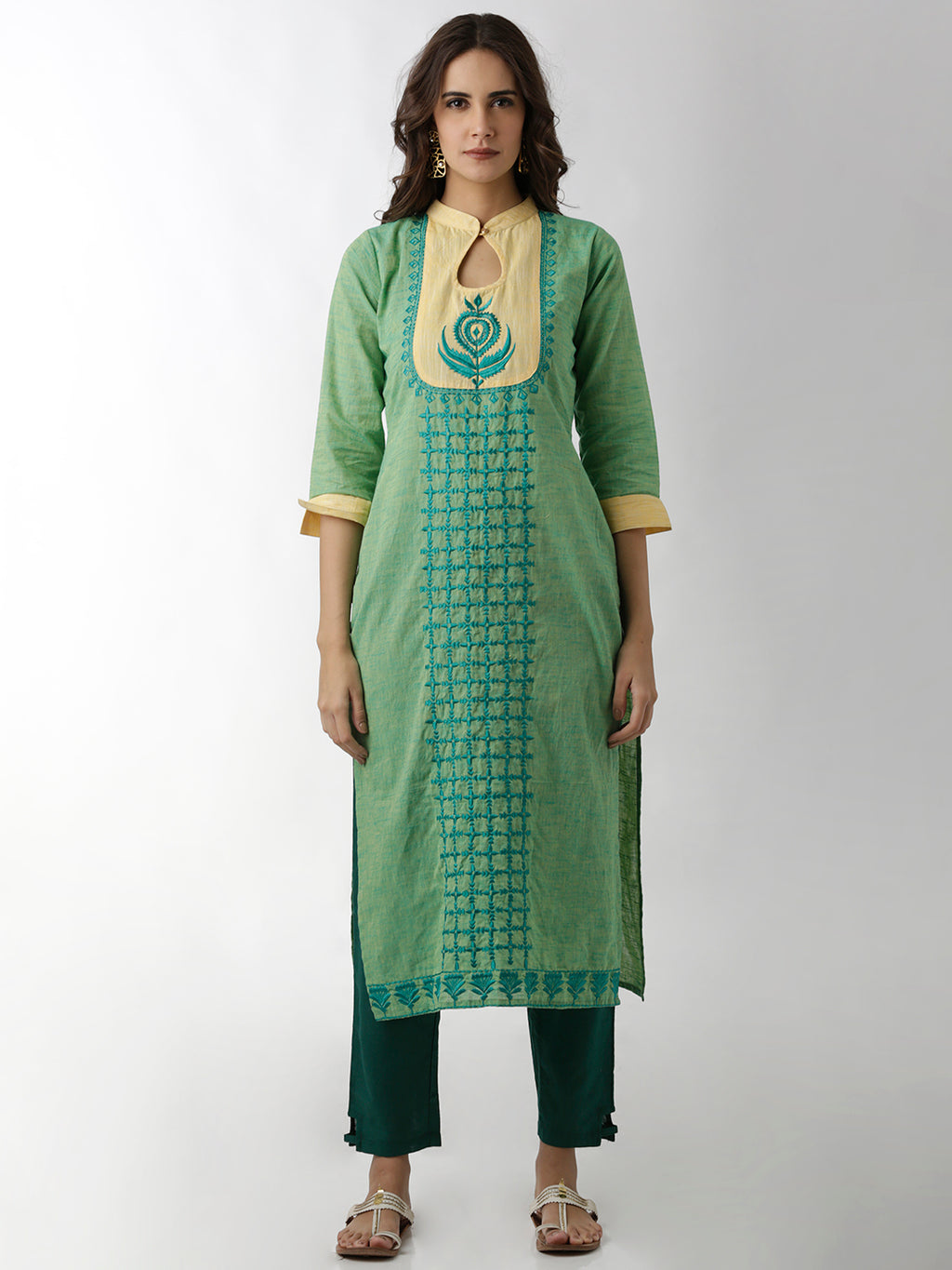 Breya Keyhole Neck Embroidered Green Straight Kurta