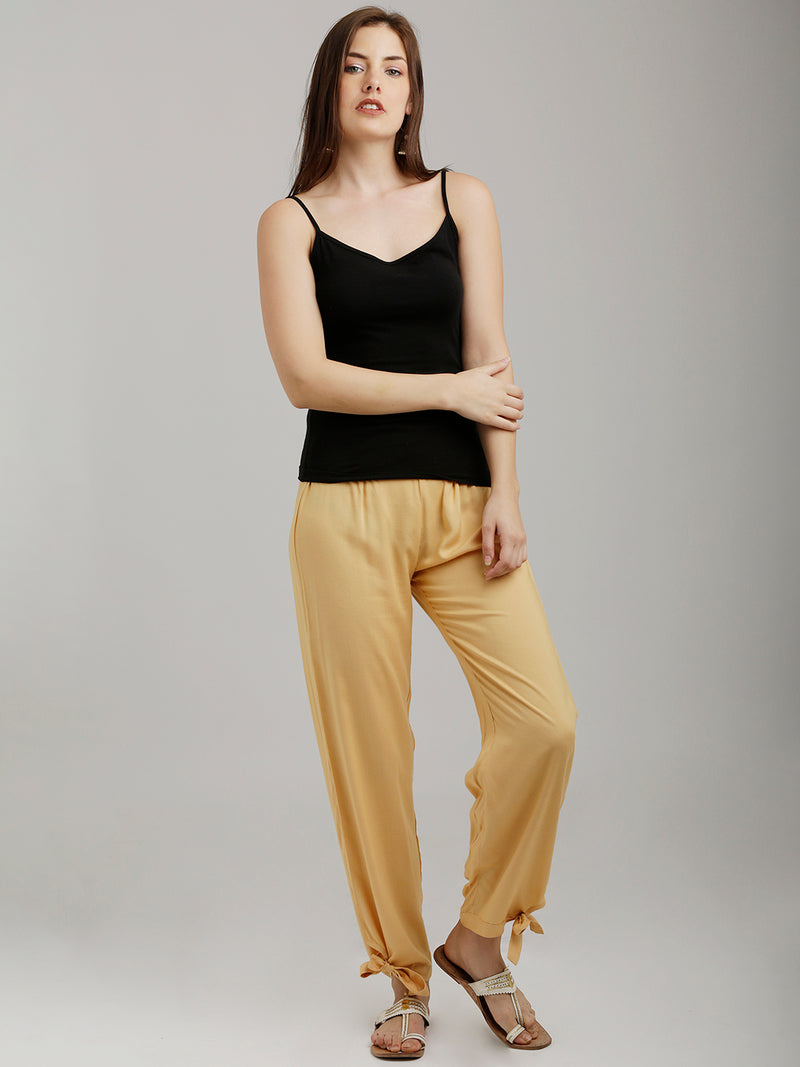 Side Tie-Ups Beige Tapered Pants