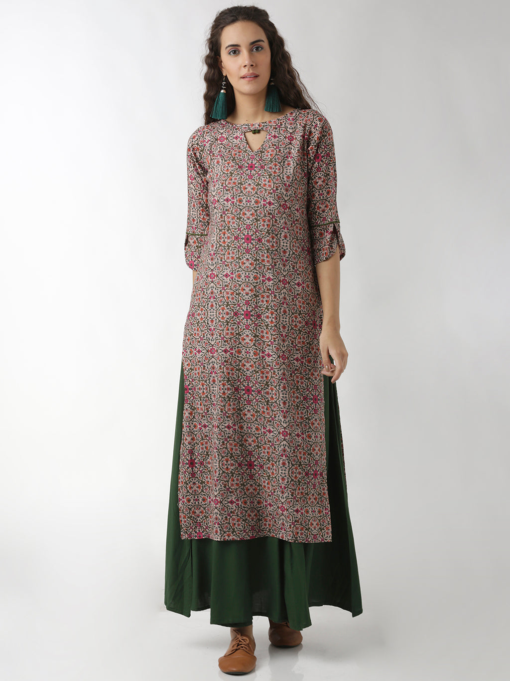 Breya Statement Sleeves And Neck Floral Printed Straight Kurta