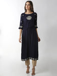Breya Raglan Sleeve Navy Blue Embroidered A-Line Kurta