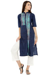 Breya Dark Blue Colour Block Kurta