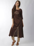 Breya Front Slit Brown Straight Kurta