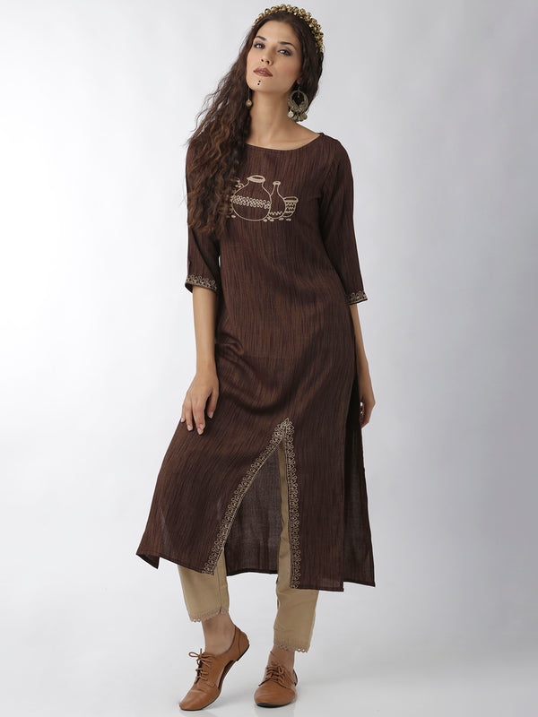 Brown Slit Kurta