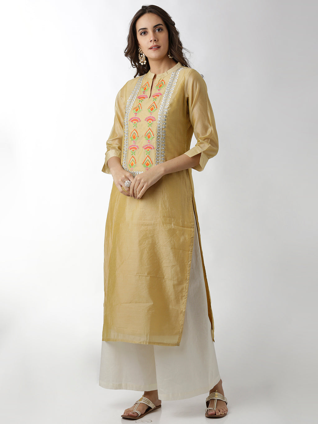 Breya Yoke Embroidered Cream Straight Kurta