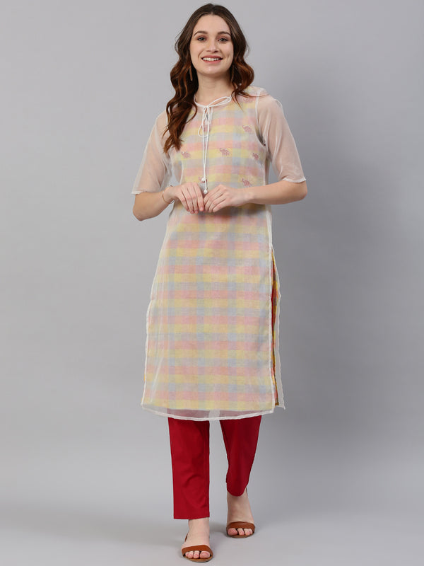 White Checked Embroidered Kurta