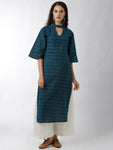 Breya Statement Neck Ikkat Print Blue Straight Kurta