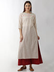 Breya Embroidered Yoke Stripped Straight Kurta