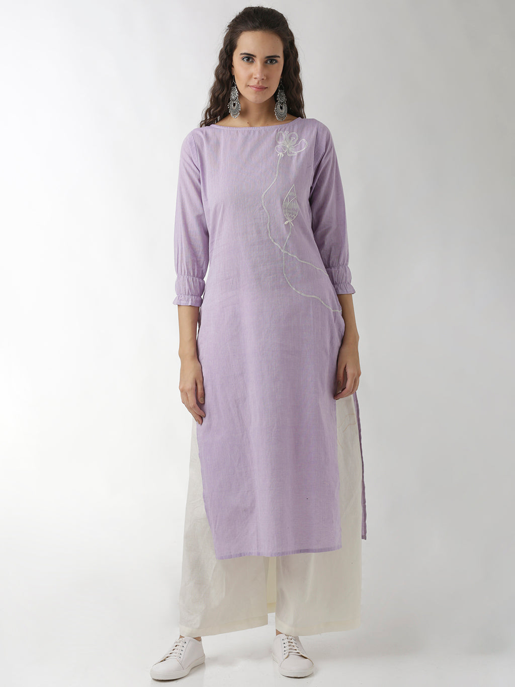 Breya Lavender Statement Sleeve Embroidered Straight Kurta