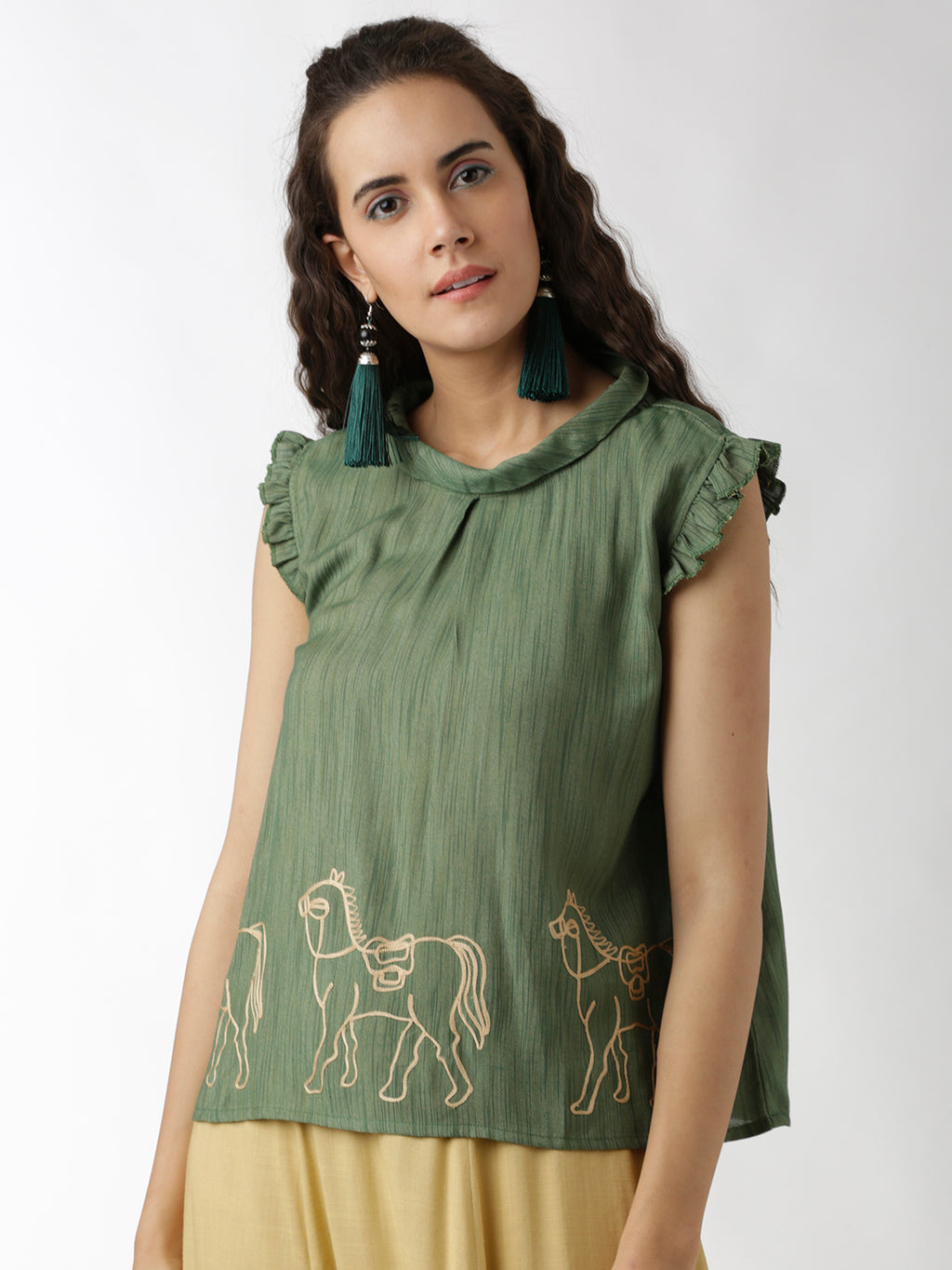 Breya Statement Neck Embroidered Green Top