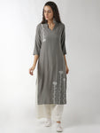 Breya Mandarin Collar Embroidered Bluish Grey Straight Kurta