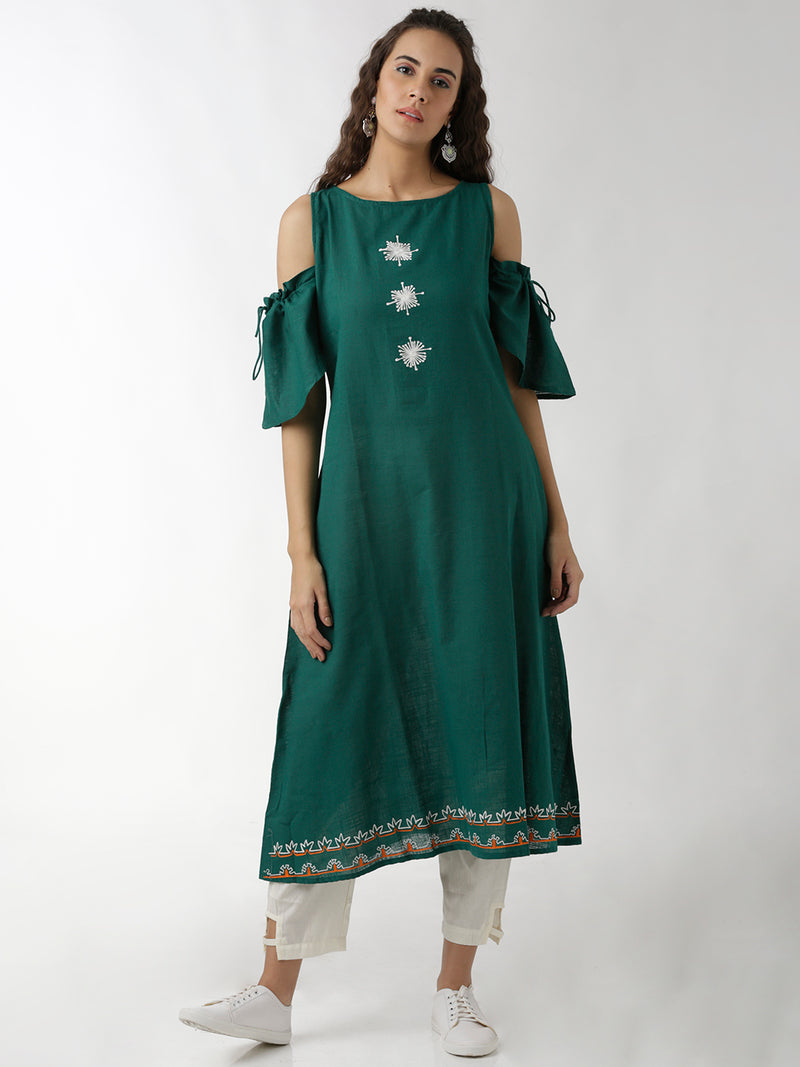 Embroidered Green A-line Kurta