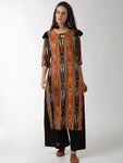 Breya Ikkat Printed Statement Neck Straight Black Kurta
