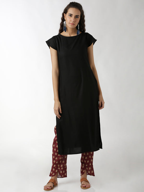 Solid Black Cap Sleeve Straight Kurta