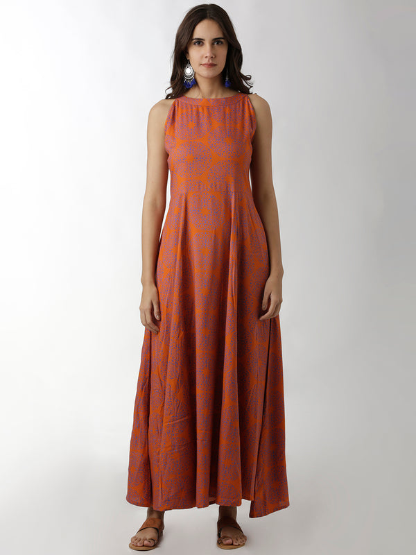 Full Length Printed Maxi Dress