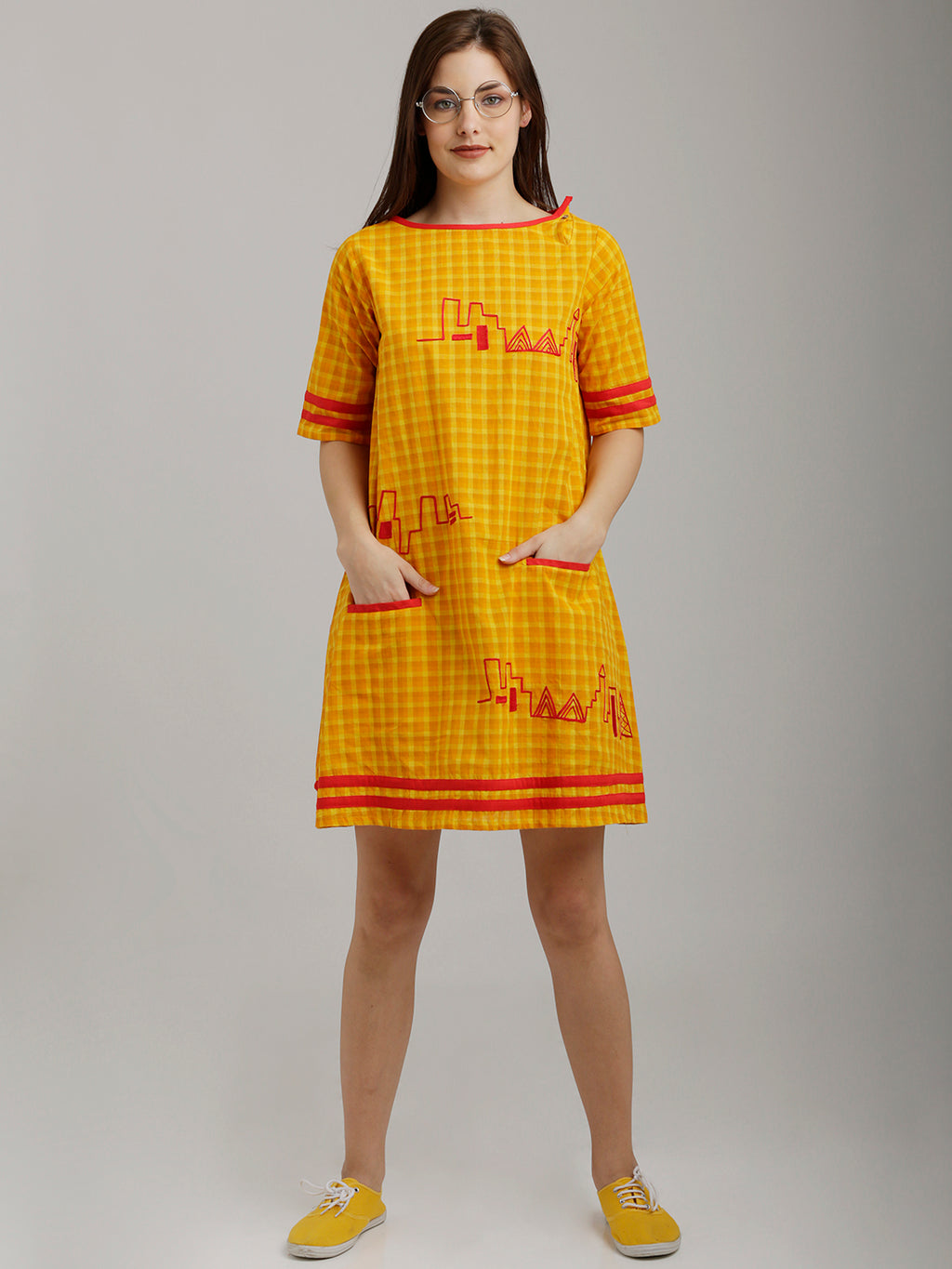 Breya Yellow Checks Embroidered Tunic