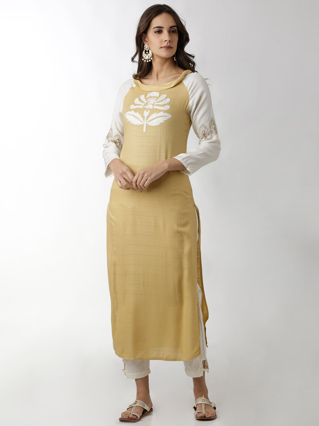 Breya Raglan Sleeved Embroidered Beige Straight Kurta