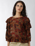 Breya Statement Sleeves Printed Brown Top