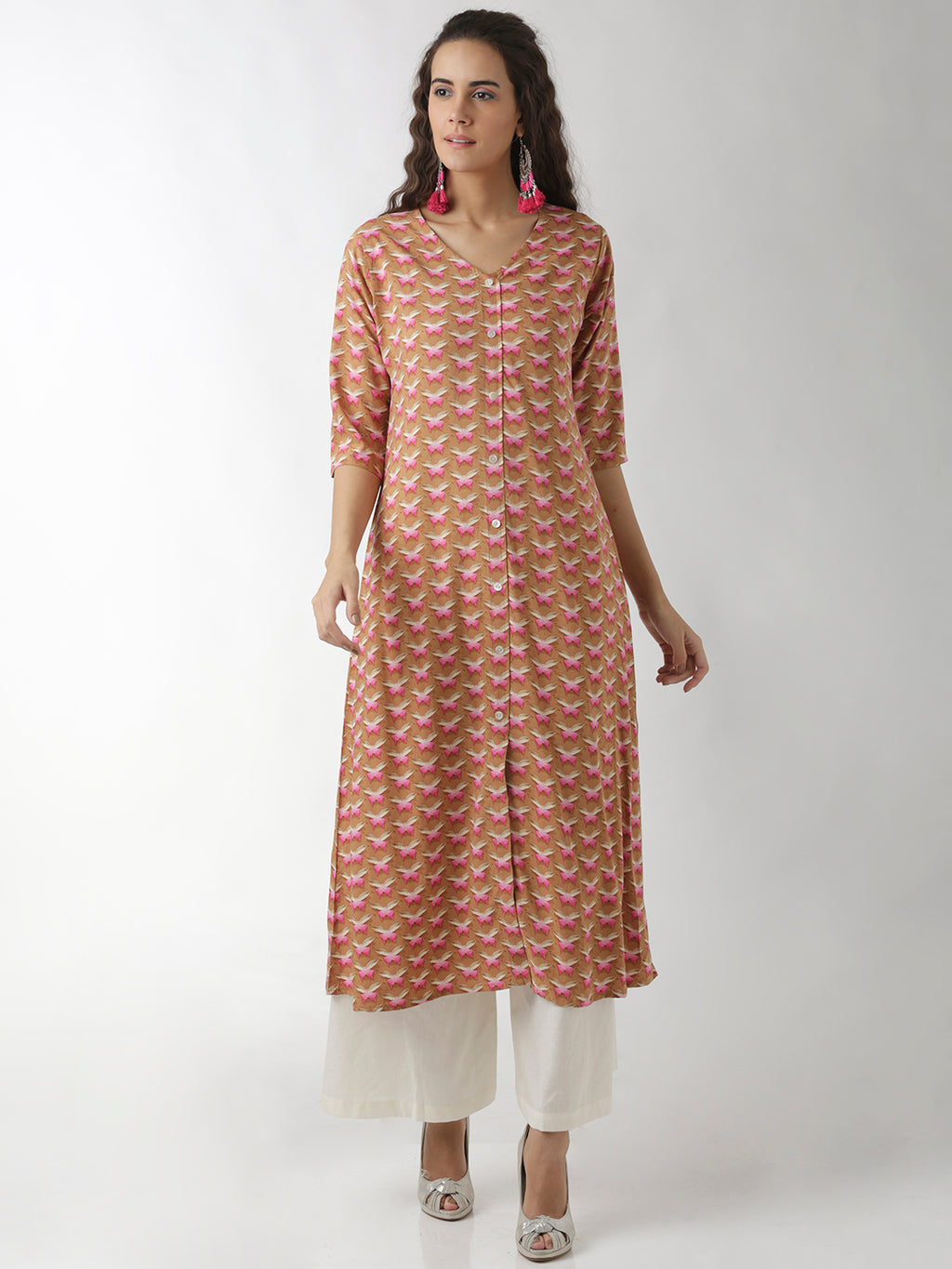 Breya Butterly Printed V-Neck A-Line Kurta