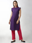 Breya Statement Neck And Sleeves Magenta Checks Blue Straight Kurta