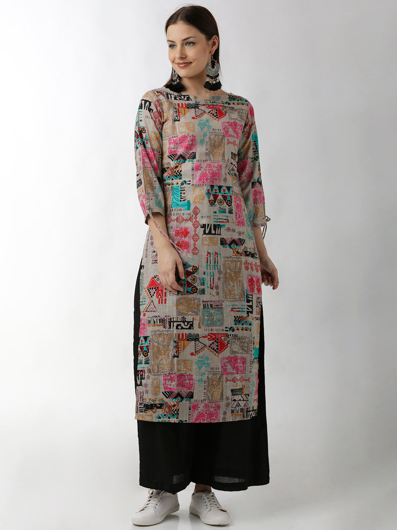 Statement Sleeves Straight Abstract Print Grey Kurta
