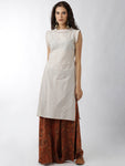 Breya Statement Neck And Sleeves Cream Checked Straight Kurta