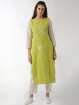 Breya Simple Boat Neck Embroidered Straight Green Kurta