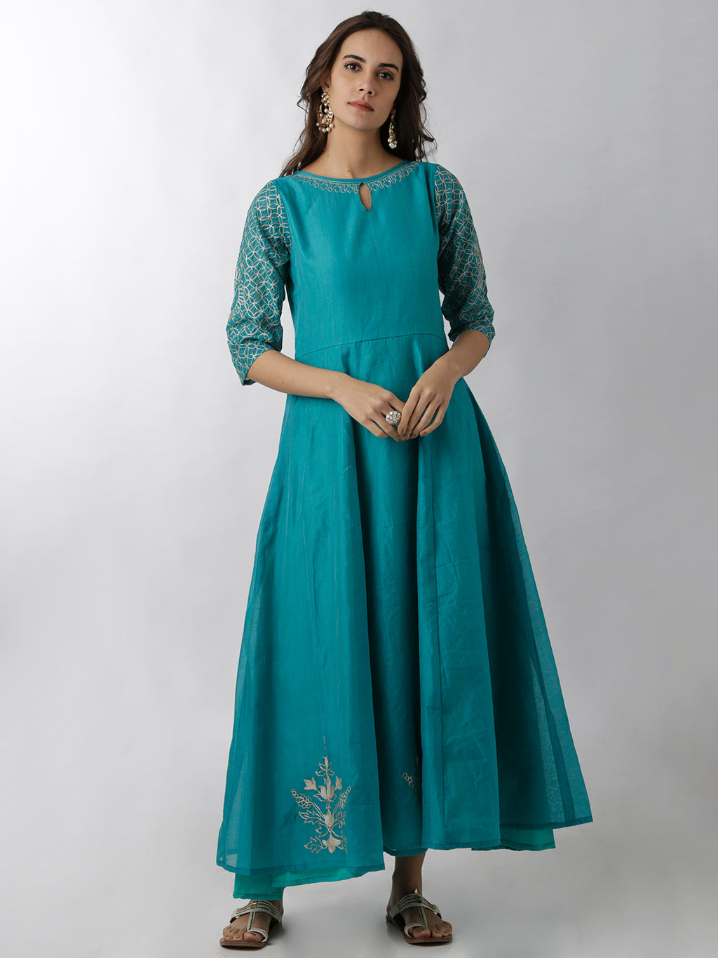 Breya Keyhole Neck Light Blue Embroidered A-Line Kurta