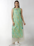 Breya Sleeveless Statement Neck Straight Printed Green Kurta