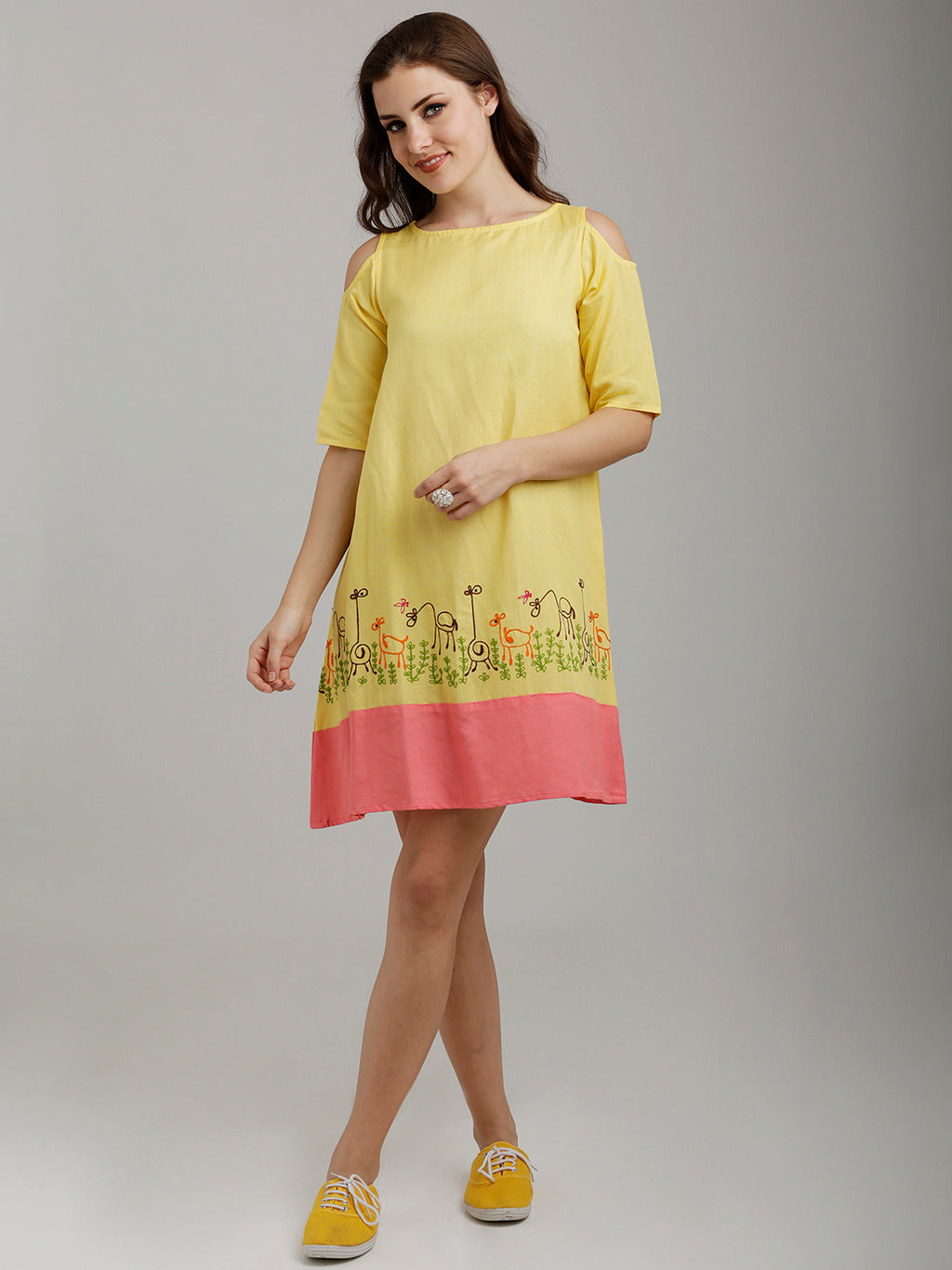 Breya Yellow Cold Shoulder Hemline Embroidered Flared Dress